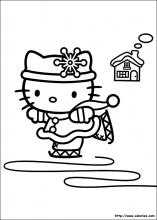 coloriage d'hello Kitty fait du patin à glace
