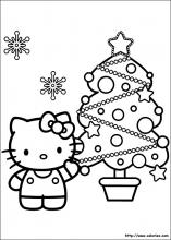 Coloriage d'Hello Kitty et son sapin de Noël