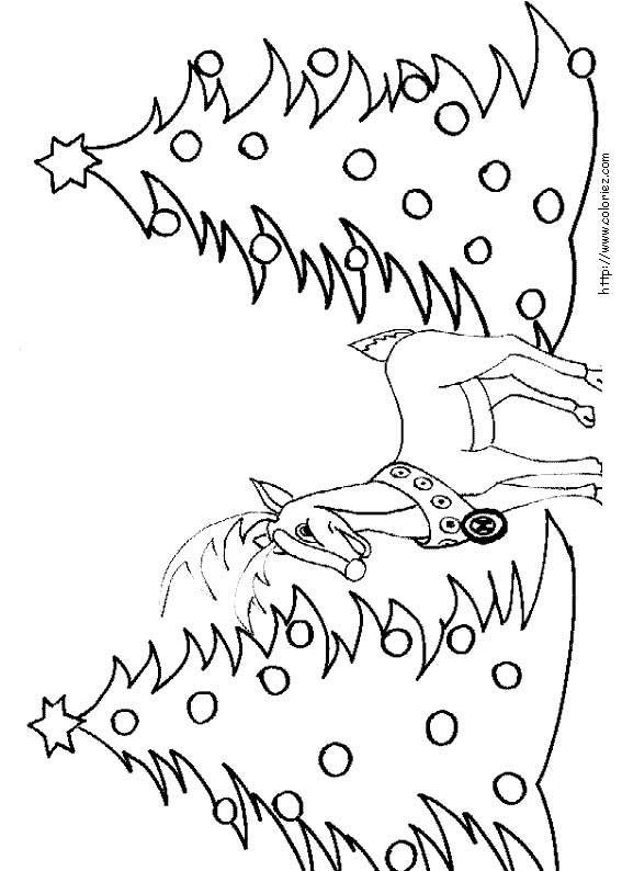 Coloriage coloriage d 39 un renne et deux sapins - Coloriage de renne ...