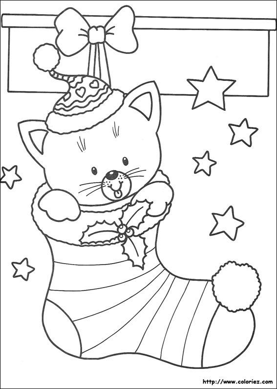 Coloriage chaussette avec petit chat - Coloriage petit noel ...