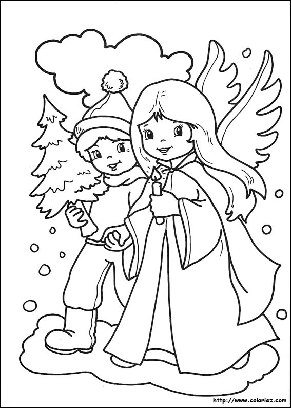 Coloriage les anges de no l - Image dessin de noel ...