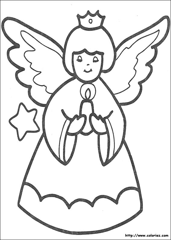 Coloriage coloriage d 39 un ange de no l for Decoration de noel dessin