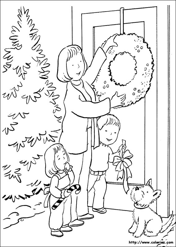 Coloriage d coration de la porte d 39 entr e for Decoration de noel dessin