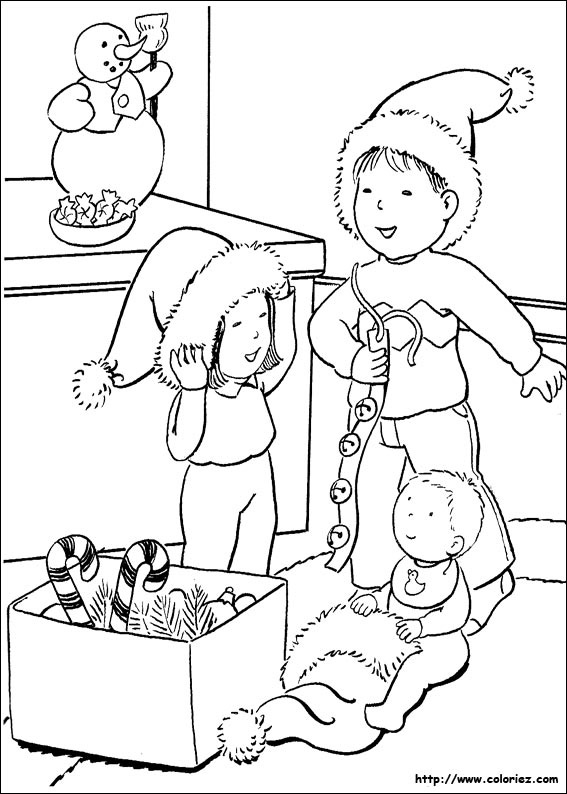 Coloriage les enfants pr parent no l - Dessin noel enfant ...