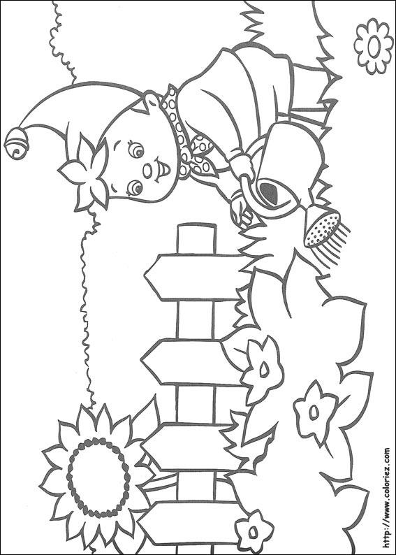Coloriage oui oui arrose ses fleurs for Jardin dessin
