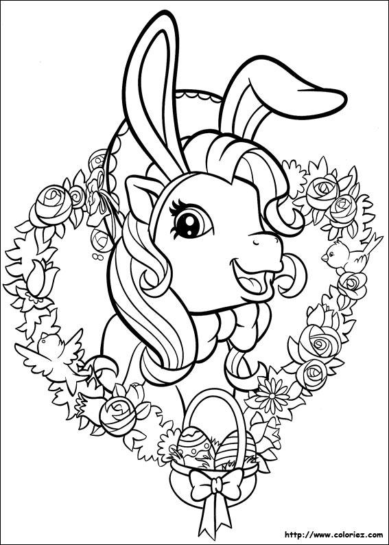 Coloriage coloriage de p ques chez les petits poneys - Coloriage de paque ...