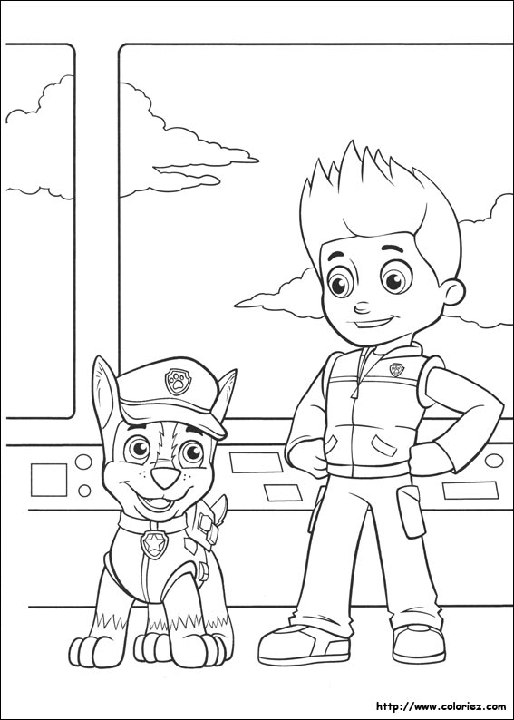 Coloriage chase et ryder for Chase coloring page