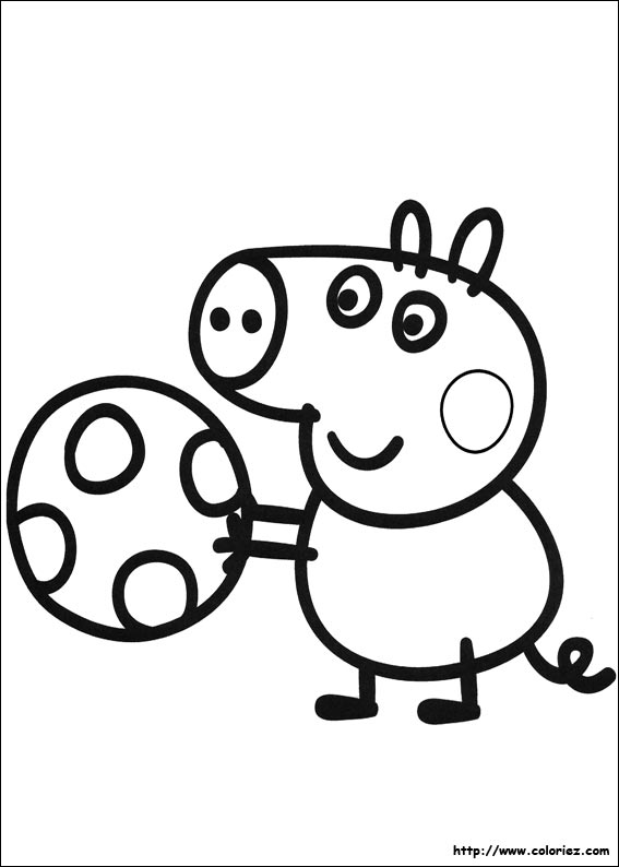 Coloriage georges et son ballon - Dessin peppa pig ...