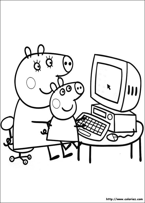 Coloriage ordinateur portable - Coloriages peppa pig ...