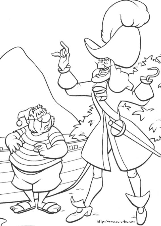 Coloriage coloriage de capitaine crochet - Coloriages peter pan ...