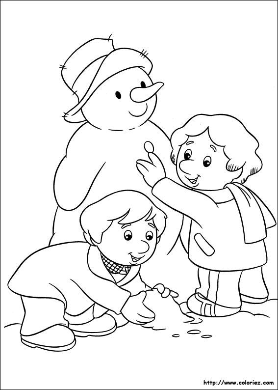 Coloriage coloriage du bonhomme de neige - Dessin bonhomme de neige facile ...