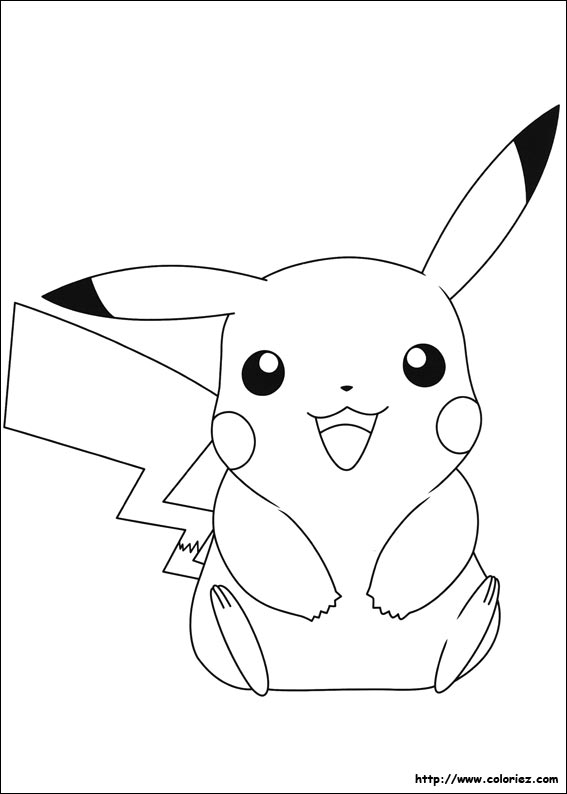 Coloriage pika pika pikachu - Dessin pokemon facile ...