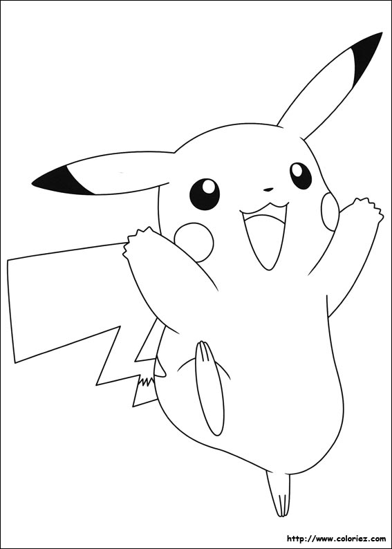 Coloriage pikachu 3 - Dessins pokemon ...