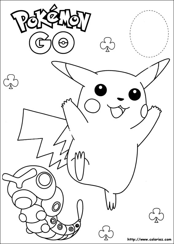 Coloriage pikachu et chenipan - Coloriage carte pokemon ...