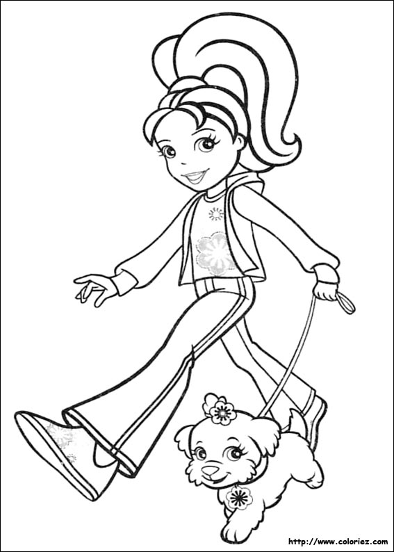 Coloriage polly et son chien - Coloriage polly pocket ...