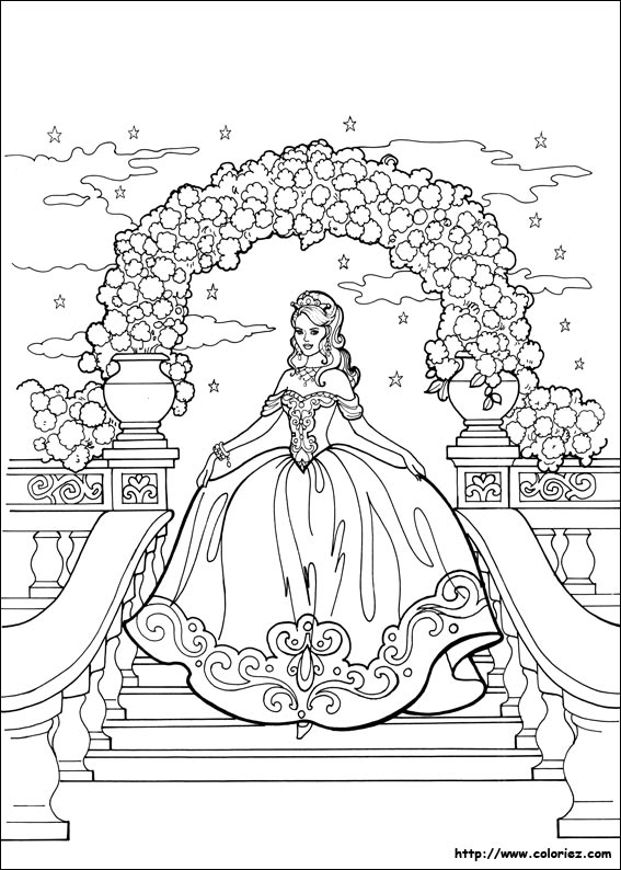 Coloriage princesse l onora arrive au bal - Coloriages princesse ...