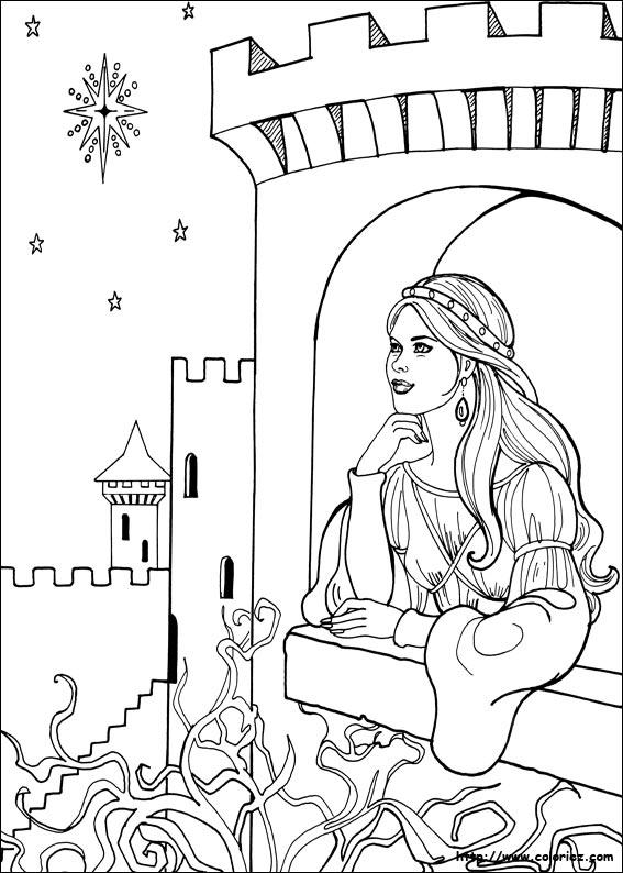 Coloriage princesse l onora pense au prince - Coloriage de prince ...