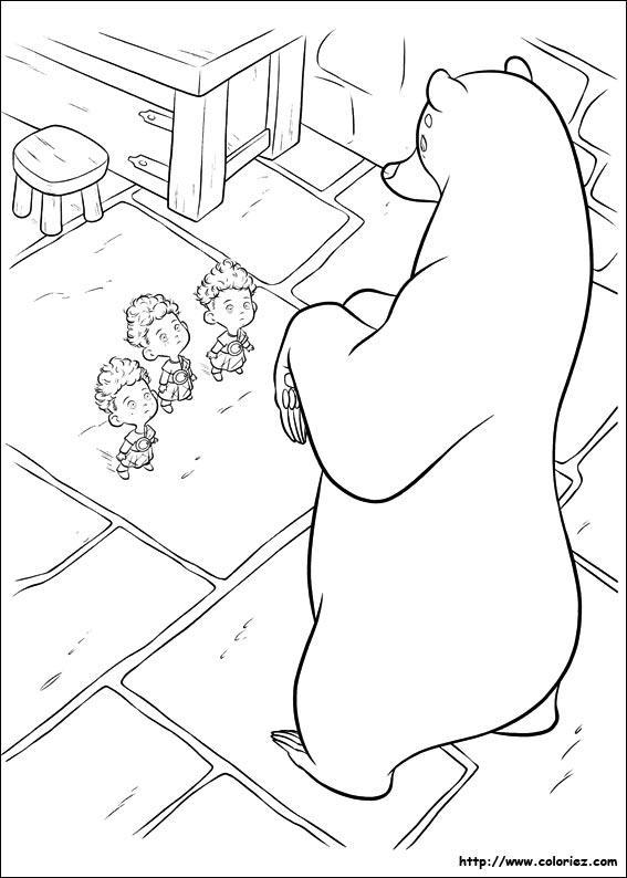 COLORIAGE - L\'ours face aux triplés
