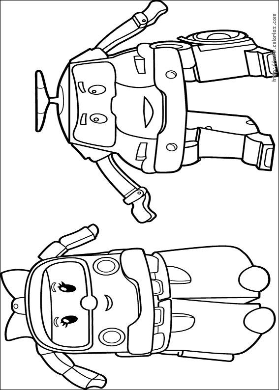 Coloriage ambre et poli for Robocar poli coloring pages