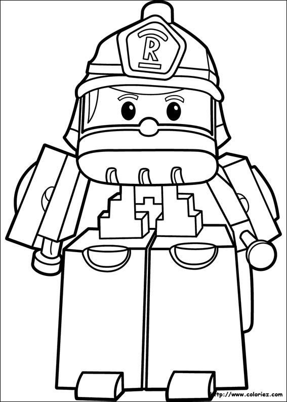 Coloriage roy le pompier - Dessin robocar poli ...