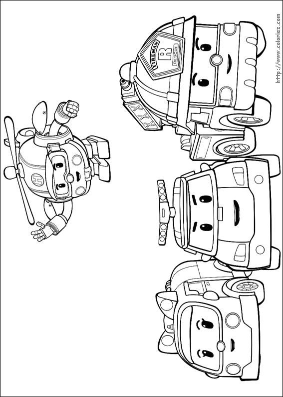 Coloriage l 39 quipe des robocar - Dessin robocar poli ...
