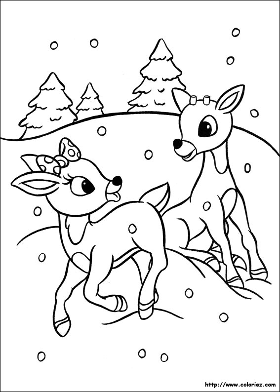 Coloriage les faons jouent - Dessin de renne au nez rouge ...