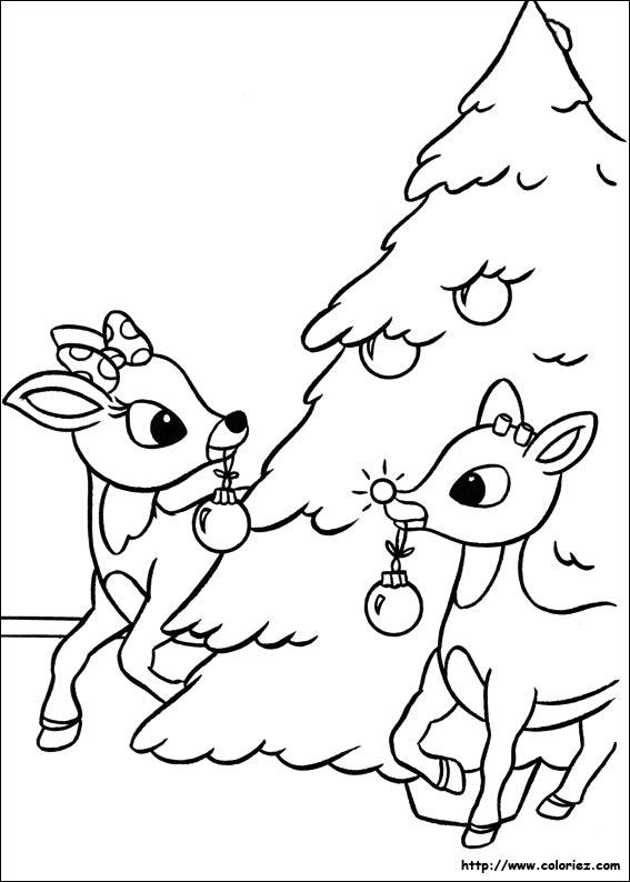 Coloriage la d coration du sapin de no l - Dessin de renne au nez rouge ...