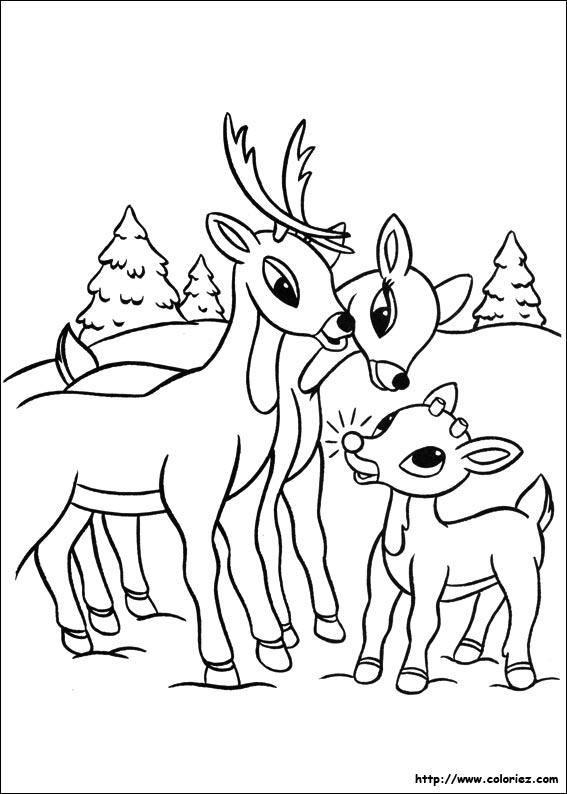 Coloriage la famille de rodolph - Dessin de renne au nez rouge ...