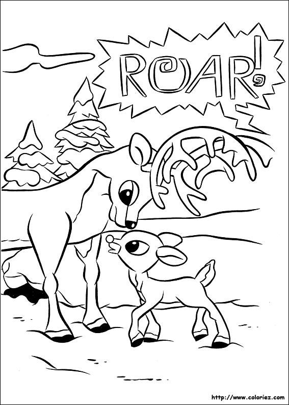 Coloriage coloriage de rudolph l 39 ducation de rudolph - Dessin de renne au nez rouge ...