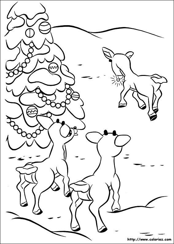Coloriage coloriage de rudolph les moqueries - Dessin de renne au nez rouge ...