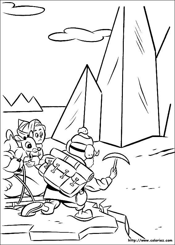 Coloriage coloriage de rudolph en chemin avec yukon - Dessin de renne au nez rouge ...