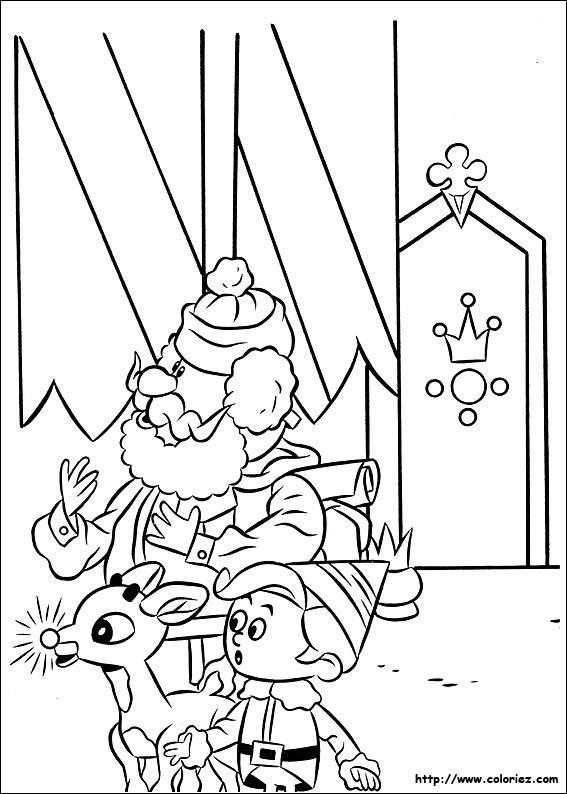 Coloriage coloriage de rudolph un royaume pour les jouets - Dessin de renne au nez rouge ...