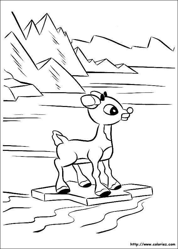 Coloriage coloriage de rudolph rudolph part seul - Dessin de renne au nez rouge ...