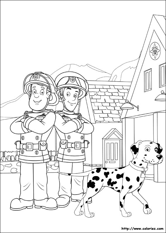 Coloriage sam et elvis - Dessin sam le pompier ...