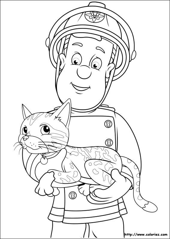 Coloriage sam sauve un chat - Coloriage de sam le pompier ...