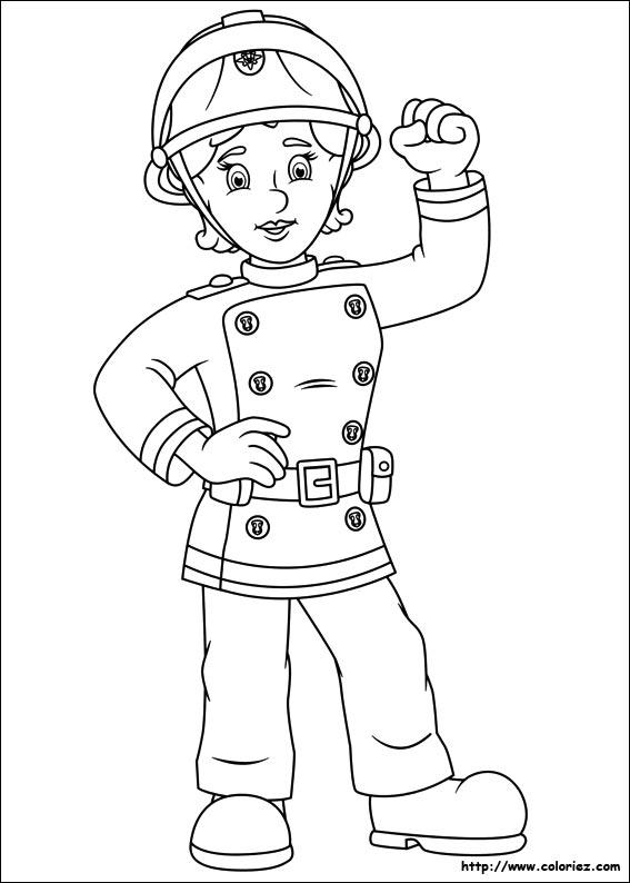 Coloriage penny femme pompier - Dessin sam le pompier ...