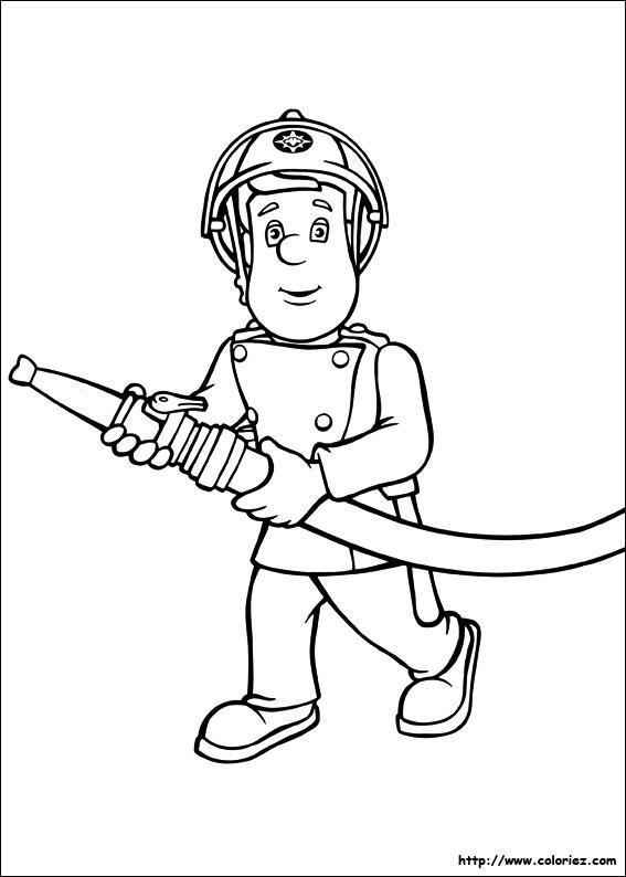 Coloriage coloriage de sam le pompier en action - Dessin pompier a imprimer ...