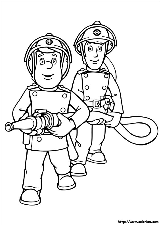 Coloriage coloriage de sam le pompier et la lance incendie - Coloriages pompiers ...