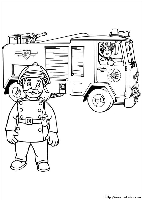 Coloriage coloriage de sam le pompier partant en mission - Coloriage de sam le pompier ...