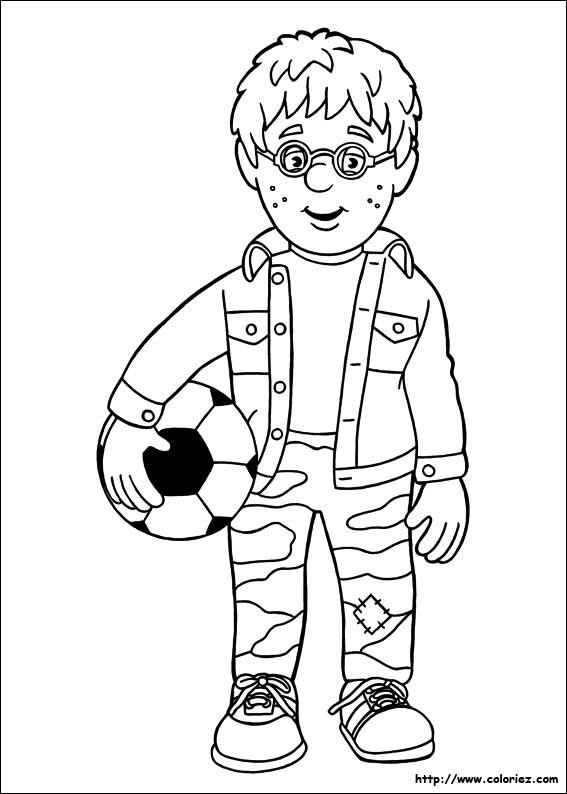 Coloriage coloriage de sam le pompier au football - Coloriage de sam le pompier a imprimer ...