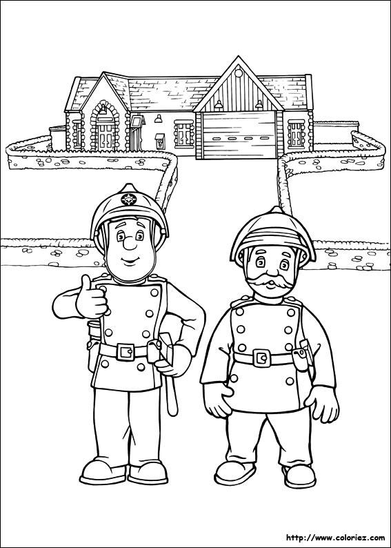 Coloriage sam le pompier est d 39 astreinte - Dessin sam le pompier ...