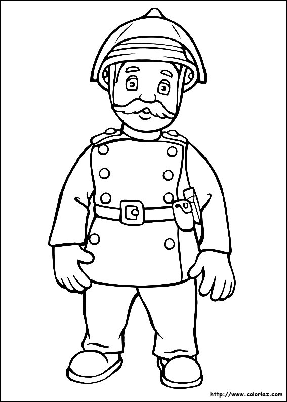Dessin Pompier coloriage - coloriages de sam le pompier