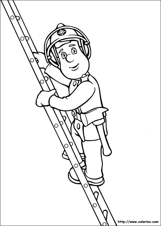 Coloriage coloriage de sam le pompier sur l 39 chelle - Dessin sam le pompier ...