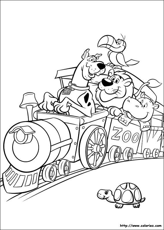 Coloriage scoubidou dans le train - Dessin de scoubidou a imprimer ...