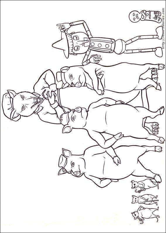 Coloriage coloriage du clan des 3 petits cochons - Dessin des 3 petit cochon ...