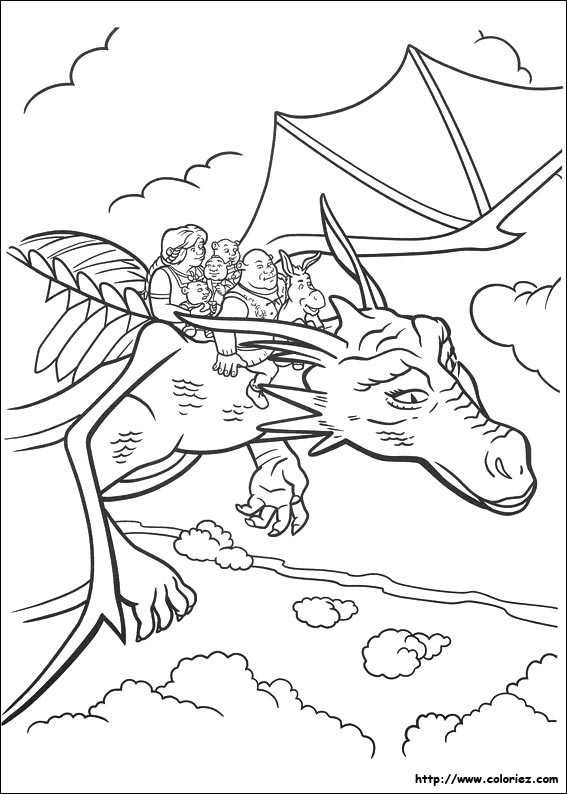 Coloriage du vol de Shrek
