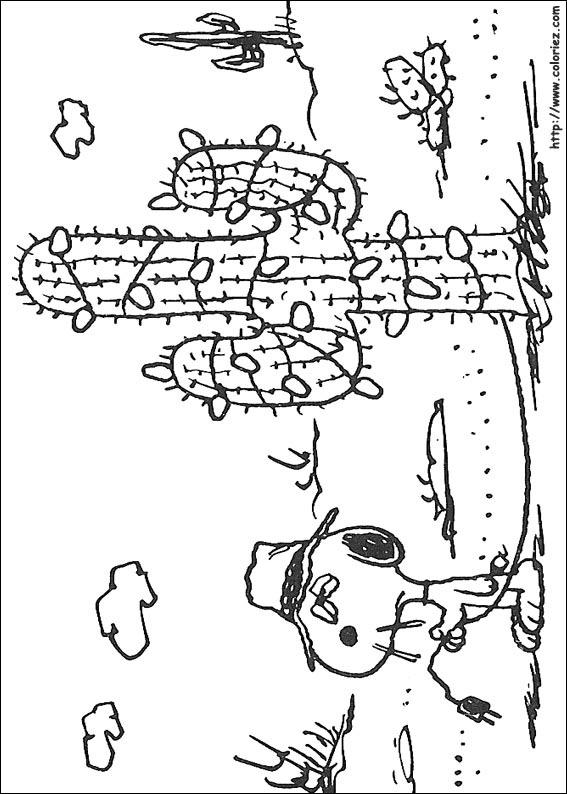 Coloriage snoopy vs cactus - Snoopy dessin ...