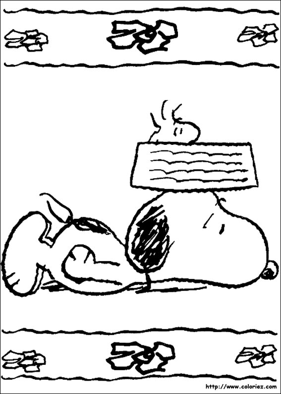 Coloriage comme on fait son nid on se couche - Snoopy dessin ...