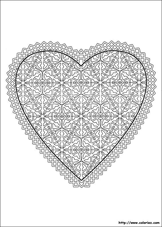 Coloriage un coeur pour les amoureux - Un coeur amoureux ...