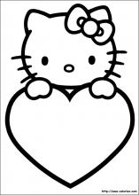 Coloriage de la St Valentin d'Hello Kitty
